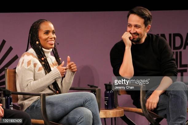 Kerry Washington and LinManuel Miranda speak at the 2020 Sundance Film Festival Power Of Story Just Art Panel at Egyptian Theatre on January 25 2020...