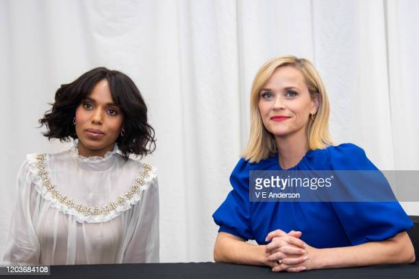 "Kerry Washington and Reese Witherspoon at the ""Little Fires Everywhere"" set visit at The Lot Studios on October 15, 2019 in Los Angeles, California."