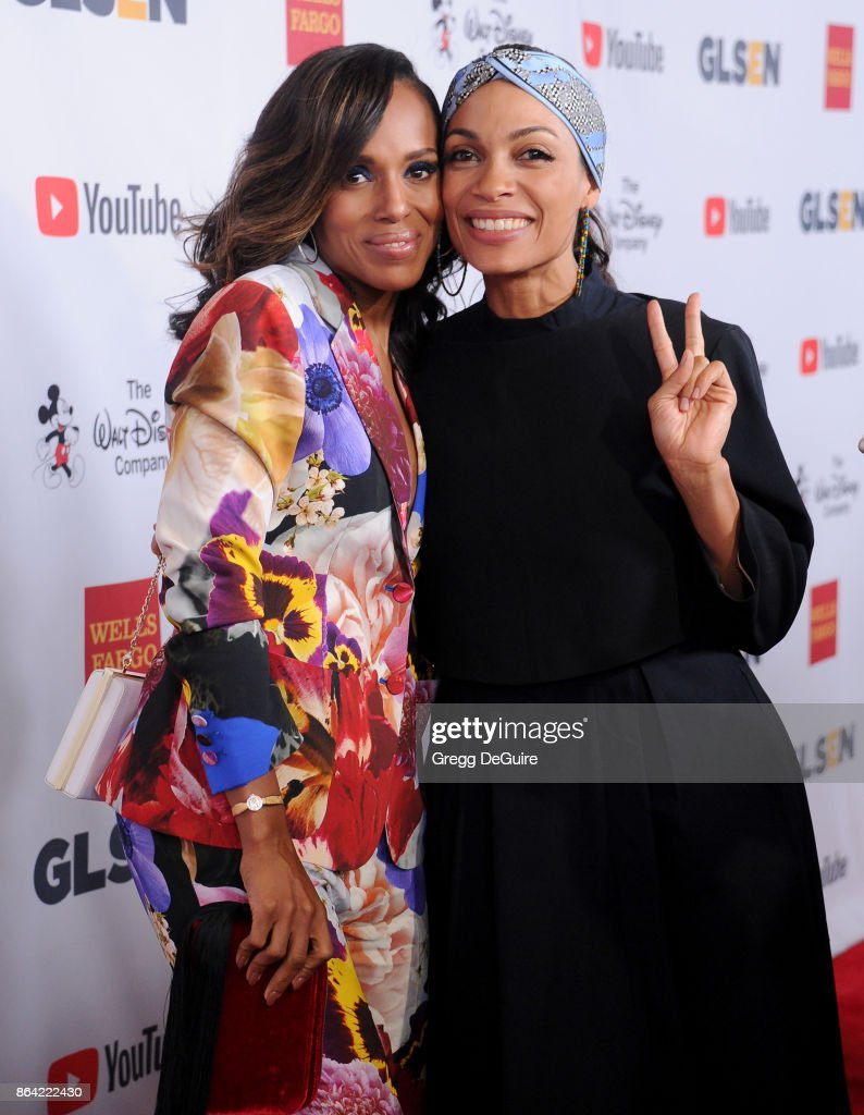 Kerry Washington and Rosario Dawson arrive at the 2017 GLSEN Respect Awards at the Beverly Wilshire Four Seasons Hotel on October 20, 2017 in Beverly Hills, California.
