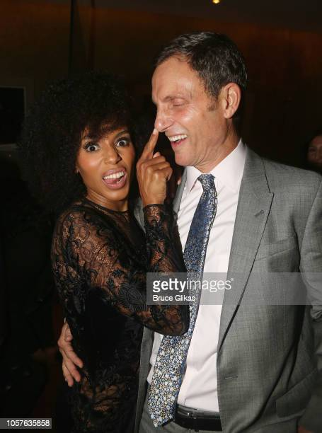 Kerry Washington and Tony Goldwyn pose at the opening night after party for the new hit play 'American Son' on Broadway at Brasserie 8 1/2 French...