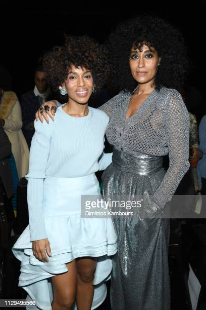 Kerry Washington and Tracee Ellis Ross attend the Marc Jacobs Fall 2019 Show at Park Avenue Armory on February 13 2019 in New York City