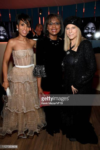 Kerry Washington Anita Hill and Barbra Streisand attend the 2019 Vanity Fair Oscar Party hosted by Radhika Jones at Wallis Annenberg Center for the...