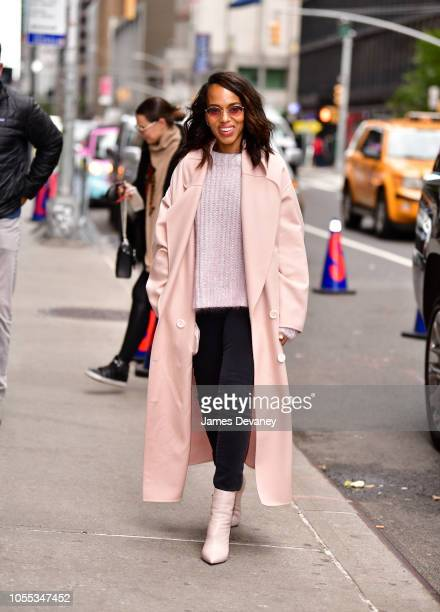 Kerry Washington arrives to 'The Late Show With Stephen Colbert' at the Ed Sullivan Theater on October 29 2018 in New York City