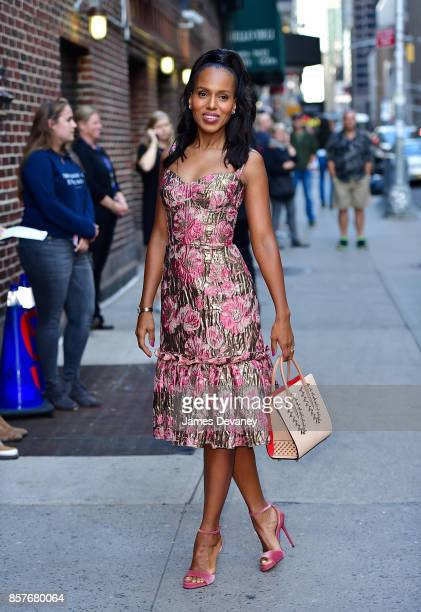 Kerry Washington arrives to the 'The Late Show With Stephen Colbert' at the Ed Sullivan Theater on October 4 2017 in New York City