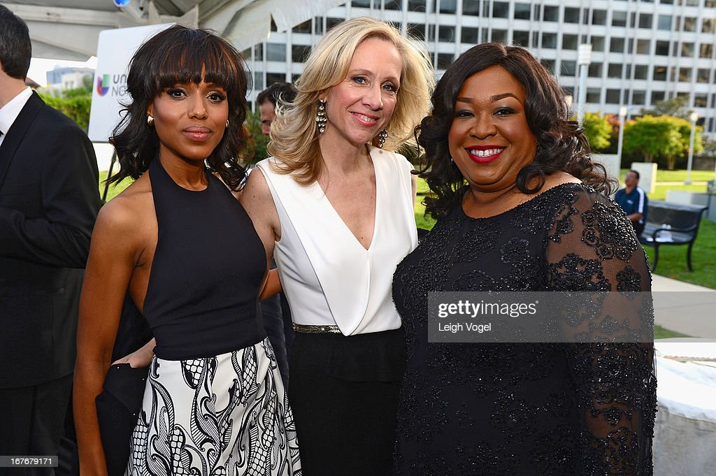 Kerry Washington, Betsy Beers and Shonda Rhimes attend ABC News, Yahoo! News, Univision Pre-White House Correspondents Dinner cocktail reception at Washington Hilton on April 27, 2013 in Washington, DC.
