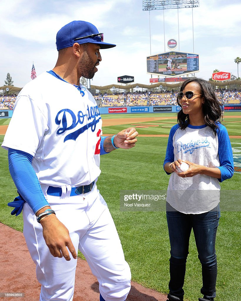 Kerry Washington, from the television show 'Scandal', attends a baseball game between the Pittsburgh Pirates and the Los Angeles Dodgers at Dodger Stadium on April 7, 2013 in Los Angeles, California.