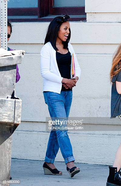 Kerry Washington is seen on a film set on September 04 2014 in Los Angeles California