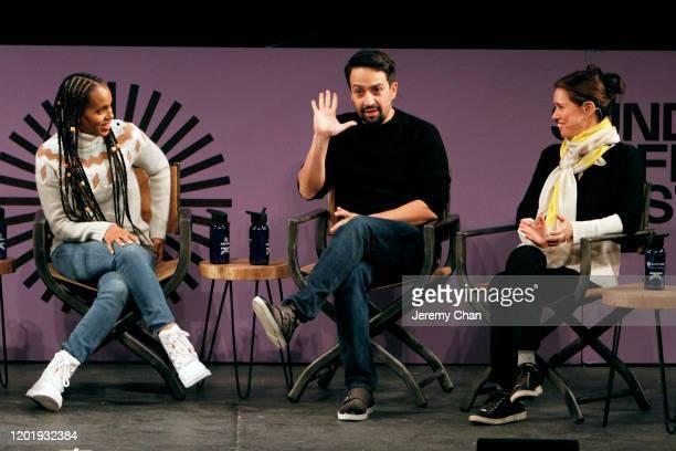 Kerry Washington LinManuel Miranda and Julie Taymor speak at the 2020 Sundance Film Festival Power Of Story Just Art Panel at Egyptian Theatre on...