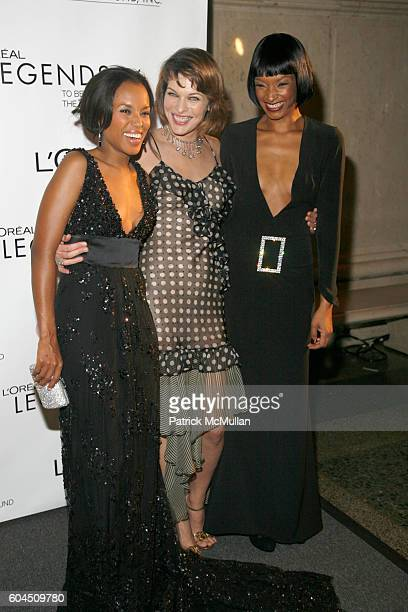 Kerry Washington Milla Jovovich and Janine Green attend L'OREAL Legends Gala Benefiting The Ovarian Cancer Research Fund at The American Museum Of...