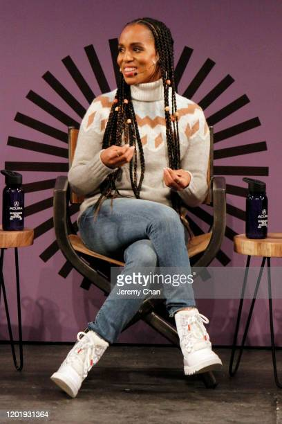 Kerry Washington speaks at the 2020 Sundance Film Festival Power Of Story Just Art Panel at Egyptian Theatre on January 25 2020 in Park City Utah
