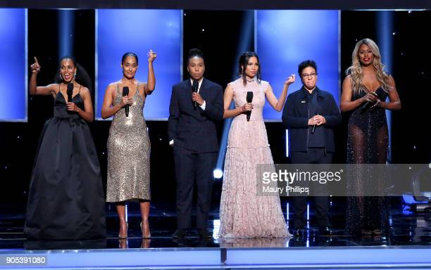 Kerry Washington Tracee Ellis Ross Lena Waithe Jurnee SmollettBell Angela Robinson and Laverne Cox speak onstage during the 49th NAACP Image Awards...