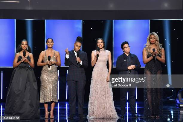 Kerry Washington Tracee Ellis Ross Lena Waithe Jurnee SmollettBell Angela Robinson and Laverne Cox speak onstage onstage at the 49th NAACP Image...