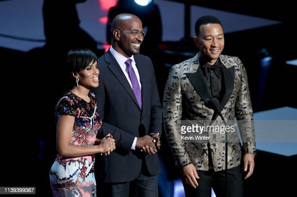 Kerry Washington Van Jones and John Legend speak onstage at the 50th NAACP Image Awards at Dolby Theatre on March 30 2019 in Hollywood California