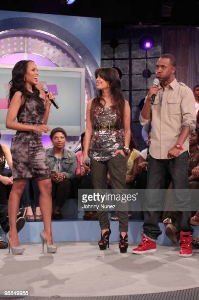 Kerry Washington visits BET's 106 Park with hosts Rocsi and Terrence J at BET Studios on May 3 2010 in New York City