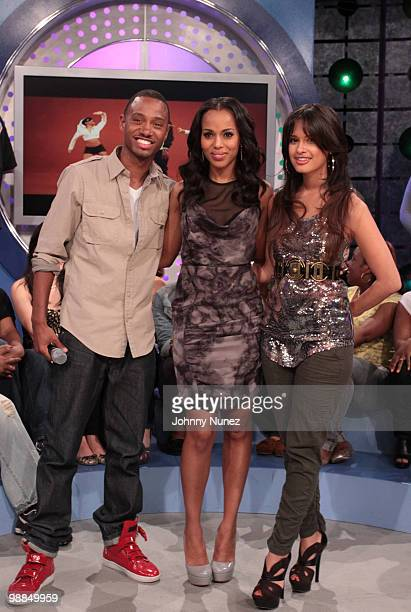 Kerry Washington visits BET's 106 Park with hosts Terrence J and Rocsi at BET Studios on May 3 2010 in New York City