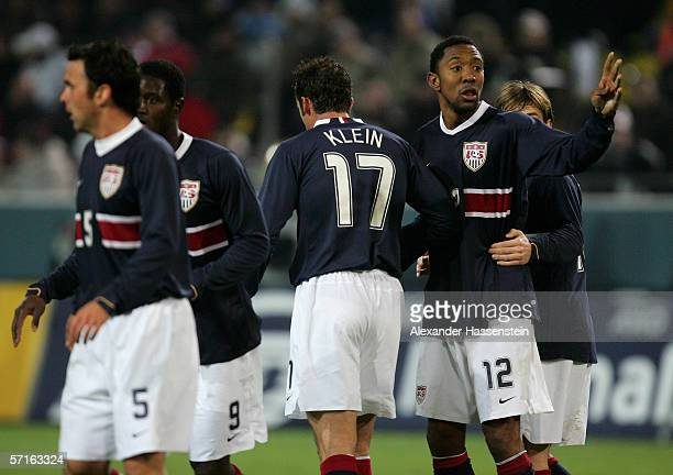 Kerry Zavagnin Eddie Johnson Chris Klein Cory Gibbs and Bobby Convey of the USA looking on during the international friendly match between Germany...