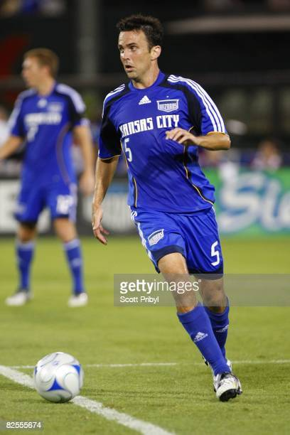 Kerry Zavagnin of the Kanas City Wizards dribbles the ball against FC Dallas during the game at Community America Ballpark on August 23 2008 in...