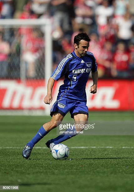 Kerry Zavagnin of the Kansas City Wizards plays the ball against the Chicago Fire during their MLS match on April 20 2008 at Toyota Park in...