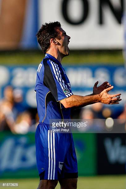 Kerry Zavagnin of the Kansas City Wizards screams in frustration during the game against the Columbus Crew on June 14 2008 at CommunityAmerica...