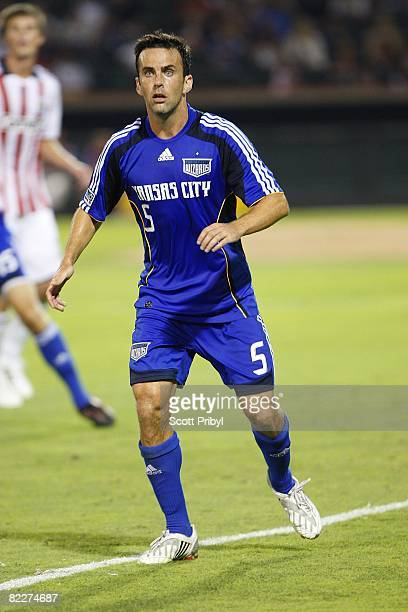 Kerry Zavagnin of the Kansas City Wizards waits for the corner kick against Chivas USA during the game at Community America Ballpark on August 9 2008...