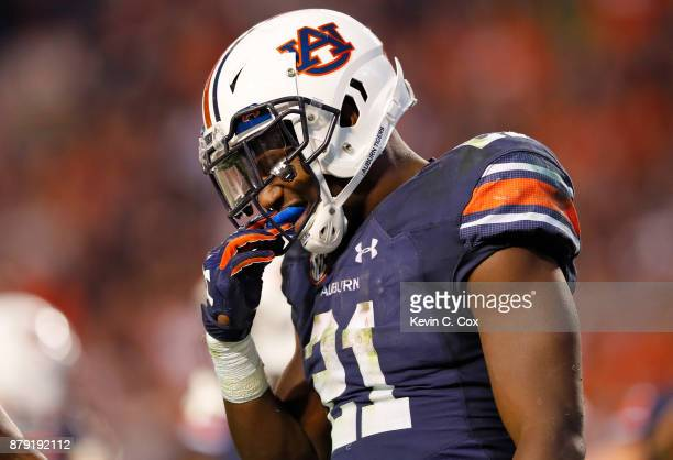 Kerryon Johnson of the Auburn Tigers celebrates after scoring a touchdown during the third quarter against the Alabama Crimson Tide at Jordan Hare...
