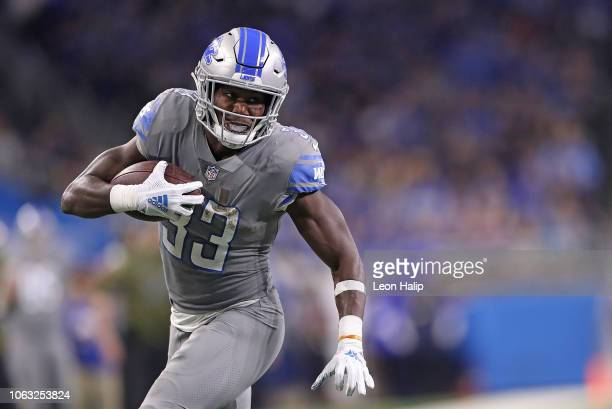 Kerryon Johnson of the Detroit Lions runs for a first down during the second quarter of the game against the Carolina Panthers at Ford Field on...