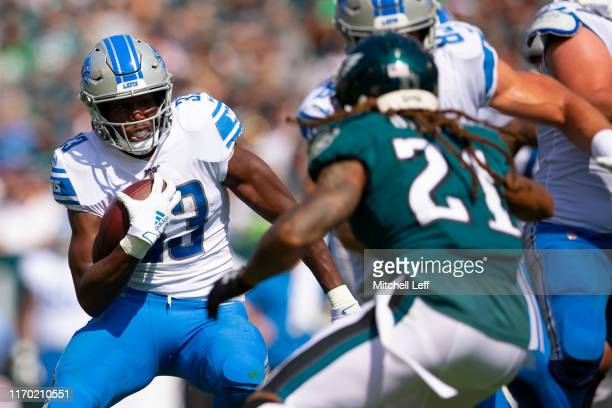 Kerryon Johnson of the Detroit Lions runs the ball against Ronald Darby of the Philadelphia Eagles at Lincoln Financial Field on September 22 2019 in...