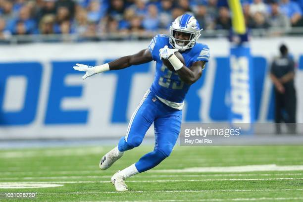 Kerryon Johnson of the Detroit Lions runs the ball in the second quarter against the New York Jets at Ford Field on September 10 2018 in Detroit...