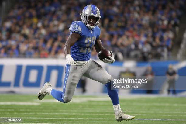 Kerryon Johnson of the Detroit Lions runs with the ball while playing the New England Patriots at Ford Field on September 23 2018 in Detroit Michigan