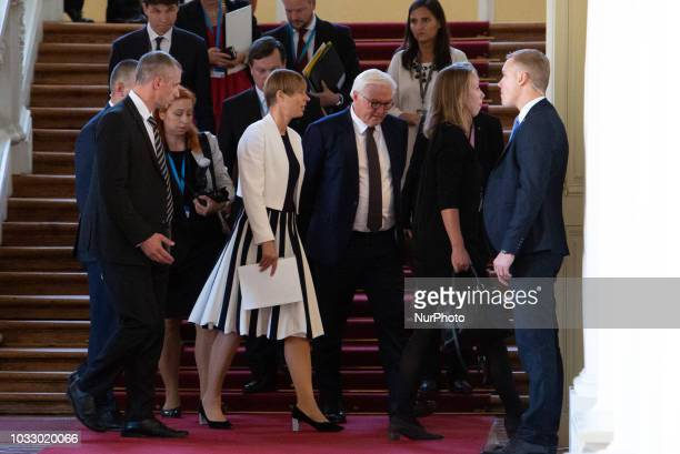 Kersti Kaljulaid and FrankWalter Steinmeier during the 14th informal meeting of the Arraiolos Group at Rundale Palace in Rundale Latvia on 13...
