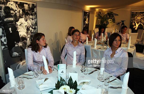 Kerstin Garefrekes and Linda Bresonik are seen during the 25th Anniversary Gala of Women's German National Team at the Oberwerth stadium on August 22...