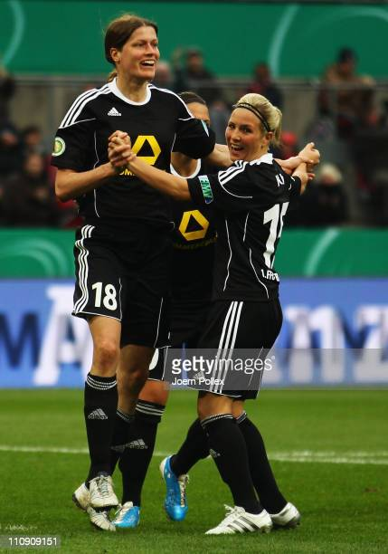 Kerstin Garefrekes of Frankfurt celebrates after scoring her team's second goal during the DFB Women's Cup final match between 1 FFC Frankfurt and...
