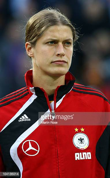 Kerstin Garefrekes of Germany poses prior to the Women's International Friendly match between Germnay and Canada at Rudolf Harbig stadium on...