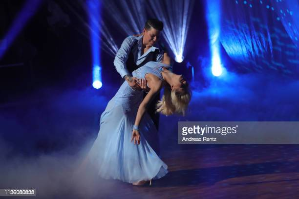 Kerstin Ott and Isabel Edvardsson perform on stage during the preshow Wer tanzt mit wem Die grosse Kennenlernshow of the television competition Let's...