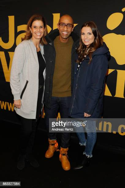 Kerstin Pooth Amiaz Habtu and Laura Wontorra attend the exclusive preview of 'Zwischen zwei Leben The Mountain between us' at Filmpalast Cologne on...