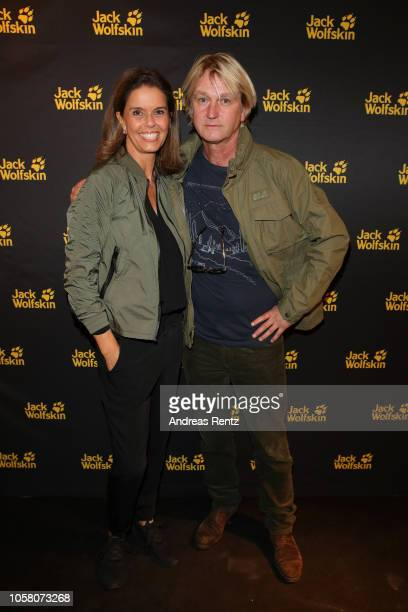Kerstin Pooth and Detlev Buck attend the meet and greet at Jack Wolfskin flagship store prior to the movie premiere of 'Wuff' on October 22 2018 in...