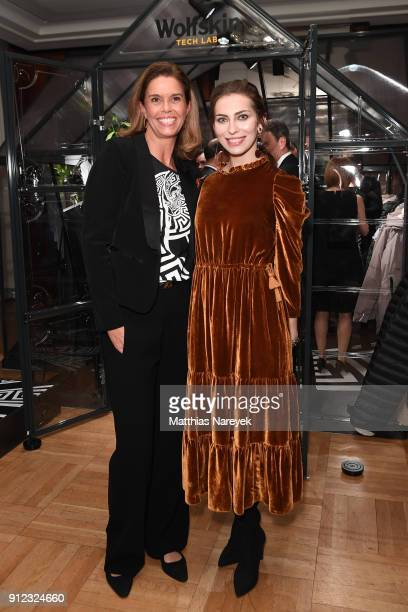 Kerstin Pooth and Masha Sedgwick attend the Wolfskin Tech Lab x Gianni Versace retrospective opening event at Kronprinzenpalais on January 30 2018 in...
