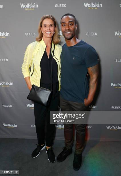 Kerstin Pooth and Simon Webbe attend the WolfskinTechLab Collection Preview AW18 at The Groucho Club on June 6 2018 in London England
