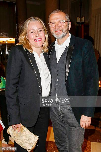 Kerstin Schneider and guest attend the Salvatore Ferragamo shop opening on April 14 2016 in Berlin Germany