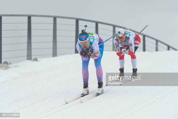 Kerttu Niskanen from Finland ahead of Norway's Heidi Weng in action during Ladies crosscountry 4 x 50km Relay Classic/Free final at FIS Nordic World...