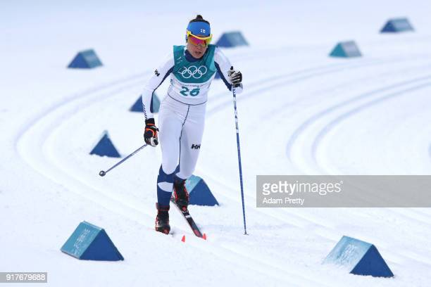 Kerttu Niskanen of Finland competes during the CrossCountry Ladies' Sprint Classic Qualification on day four of the PyeongChang 2018 Winter Olympic...