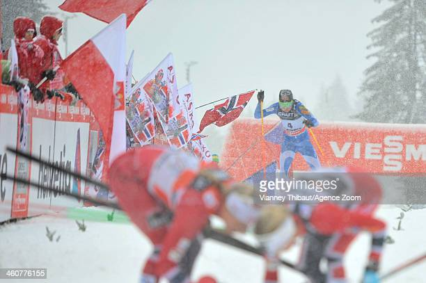 Kerttu Niskanen of Finland competes during the FIS CrossCountry World Cup Tour de Ski Women's Final Climb on January 05 2014 in Val di Fiemme Italy