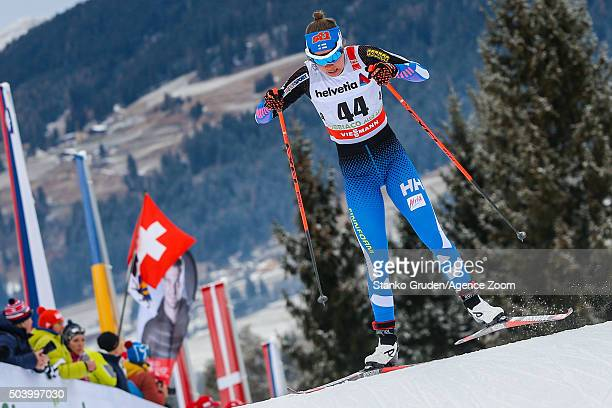 Kerttu Niskanen of Finland competes during the FIS Nordic World Cup Men's and Women's Cross Country Tour de Ski on January 8 2016 in Toblach...