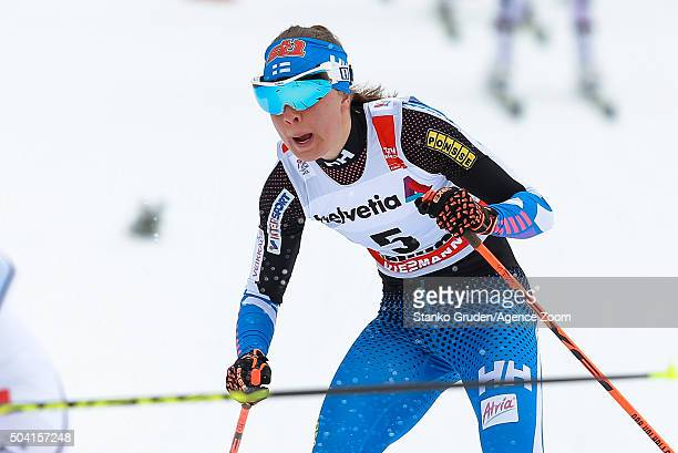Kerttu Niskanen of Finland competes during the FIS Nordic World Cup Men's and Women's Cross Country Tour de Ski on January 9 2016 in Val di Fiemme...