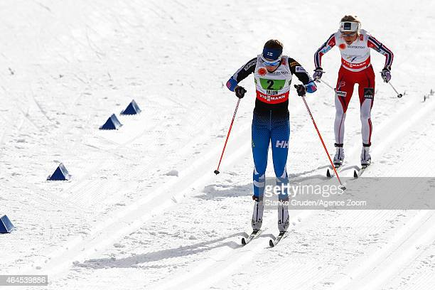 Kerttu Niskanen of Finland competes during the FIS Nordic World Ski Championships Women's CrossCountry Relay on February 26 2015 in Falun Sweden