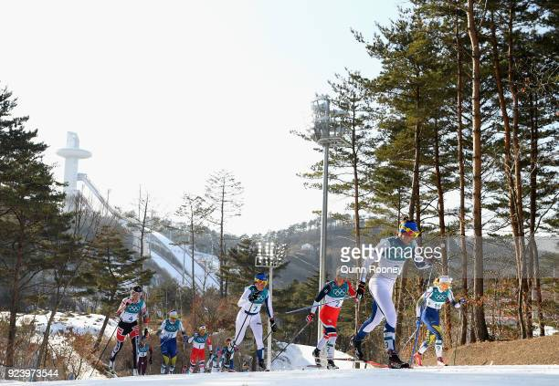Kerttu Niskanen of Finland competes during the Ladies' 30km Mass Start Classic on day sixteen of the PyeongChang 2018 Winter Olympic Games at...