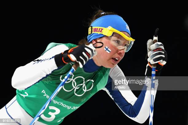 Kerttu Niskanen of Finland competes during the Ladies' 4x5km Relay on day eight of the PyeongChang 2018 Winter Olympic Games at Alpensia CrossCountry...