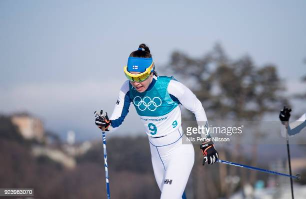 Kerttu Niskanen of Finland competes during womens 30k Mass Start Classic Technique at Alpensia CrossCountry Centre on February 25 2018 in...