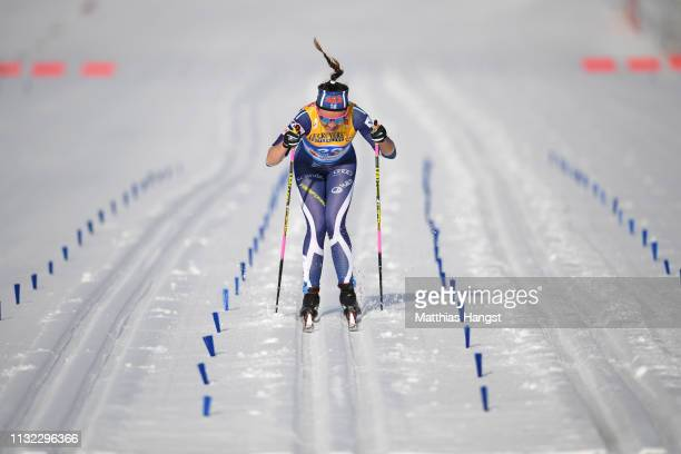 Kerttu Niskanen of Finland competes in the Cross-Country Women's 10k race of the FIS Nordic World Ski Championships at Langlauf Arena Seefeld on...