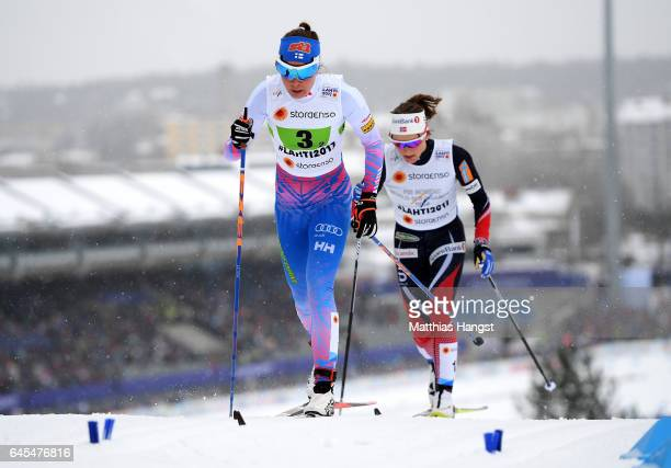 Kerttu Niskanen of Finland competes in the Men's and Women's Cross Country Team Sprint qualification race during the FIS Nordic World Ski...